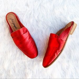 FREE PEOPLE At Ease Metallic Red Flat Loafers 39 9